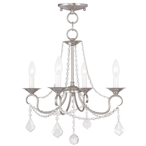 Pennington Brushed Nickel Four Light Convertible Chain Hang and Ceiling Mount, image 1
