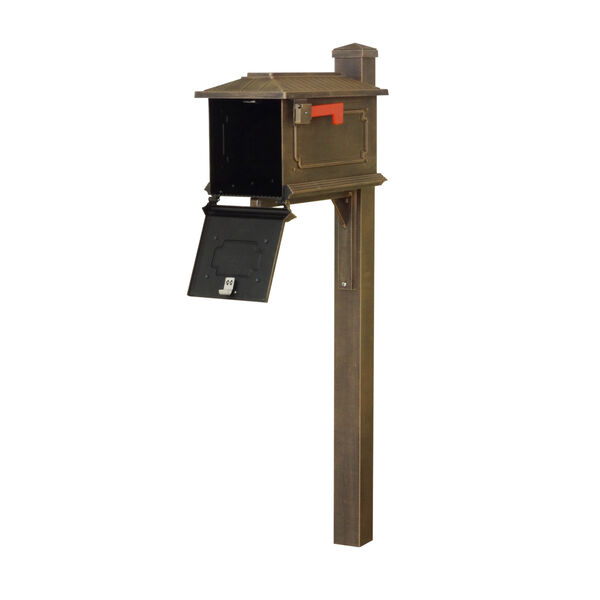 Kingston Curbside Copper Mailbox and Wellington Direct Burial Mailbox Post Smooth Square, image 3