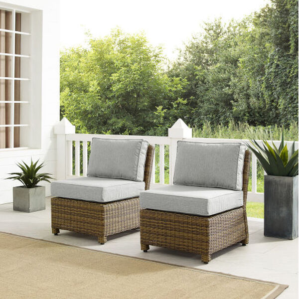 Bradenton Gray Weathered Brown Two-Piece Outdoor Wicker Chair Set, image 1