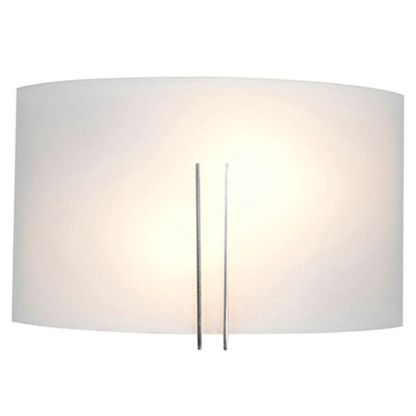 Prong Brushed Steel Two-Light Vanity with White Glass, image 2