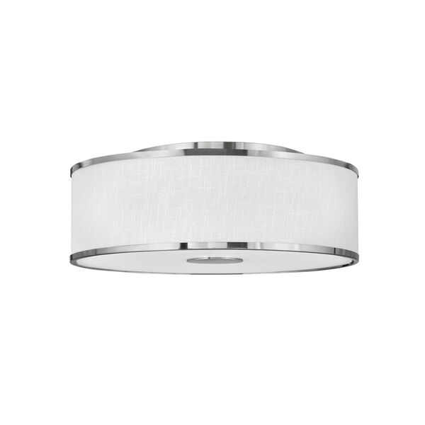 Halo Brushed Nickel Four-Light LED Flush Mount with Off White Linen Shade, image 1