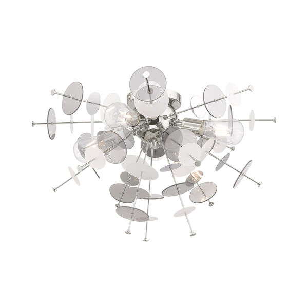 Circulo Polished Chrome 24-Inch Four-Light Ceiling Mount with Chrome Discs and Glass Discs, image 6