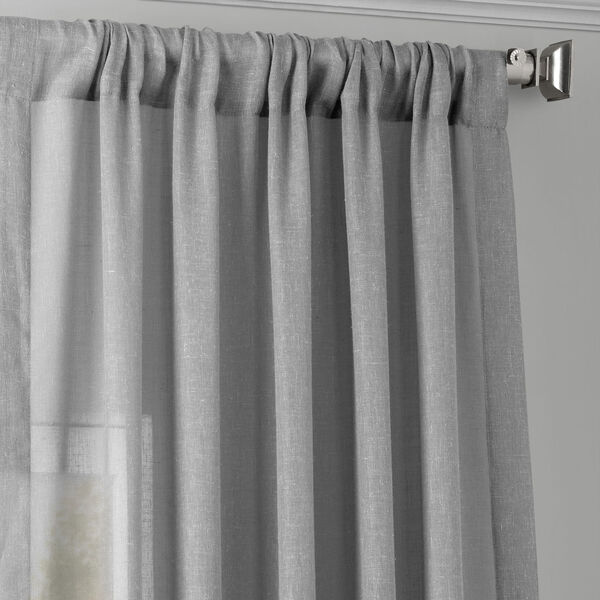 Nickel Faux Linen Sheer Single Panel Curtain Panel, 50 X 96, image 3