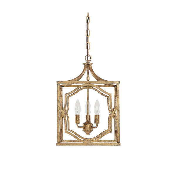 Blakely Antique Gold Three Light Foyer- Antique Gold, image 1