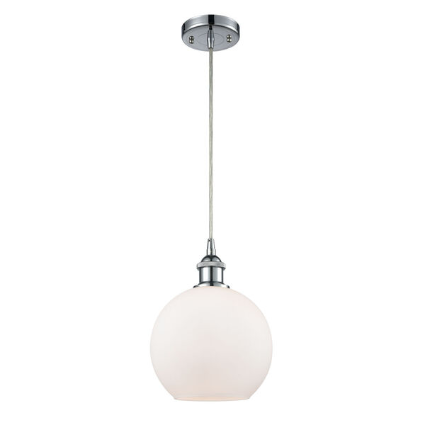 Ballston Polished Chrome Eight-Inch One-Light Mini Pendant with Cased Matte White Athens Shade, image 1