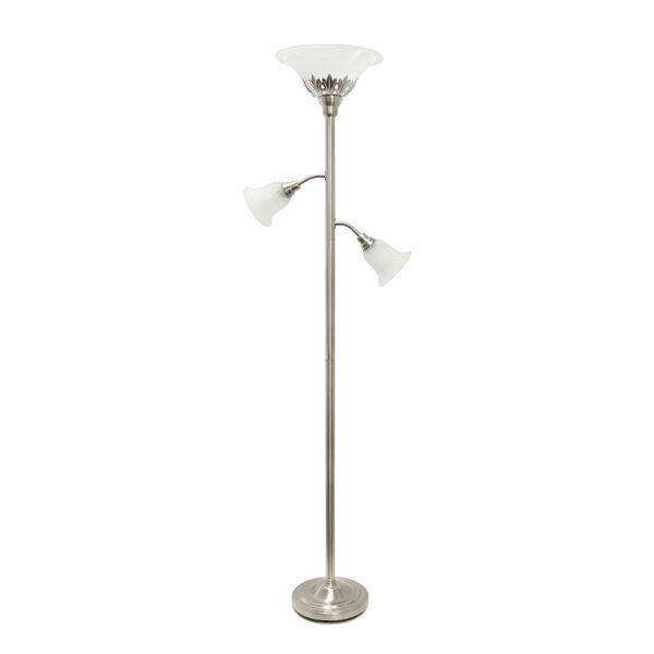 Quince Brushed Nickel White Shade Three-Light Floor Lamp, image 1
