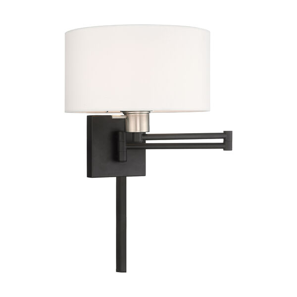 Swing Arm Wall Lamps Black 11-Inch One-Light Swing Arm Wall Lamp with Hand Crafted Off-White Hardback Shade, image 1