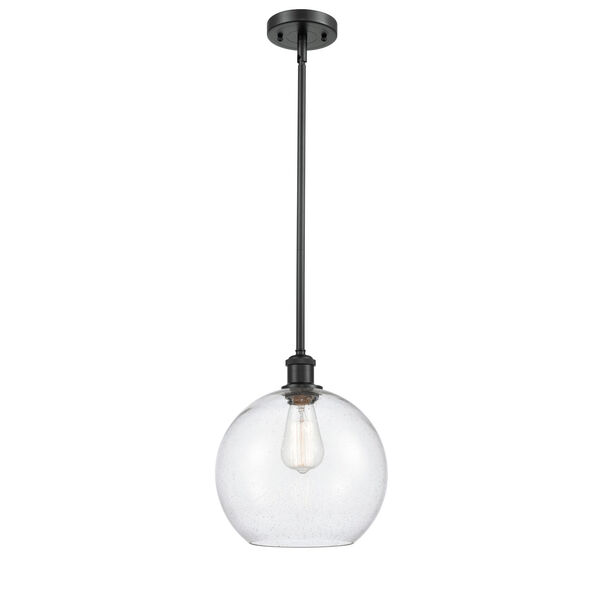 Ballston Matte Black 10-Inch One-Light Pendant with Seedy Glass Shade, image 1