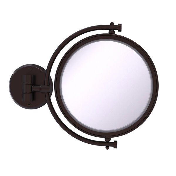 Antique Bronze Eight-Inch Wall Mounted Make-Up Mirror 4X Magnification, image 1