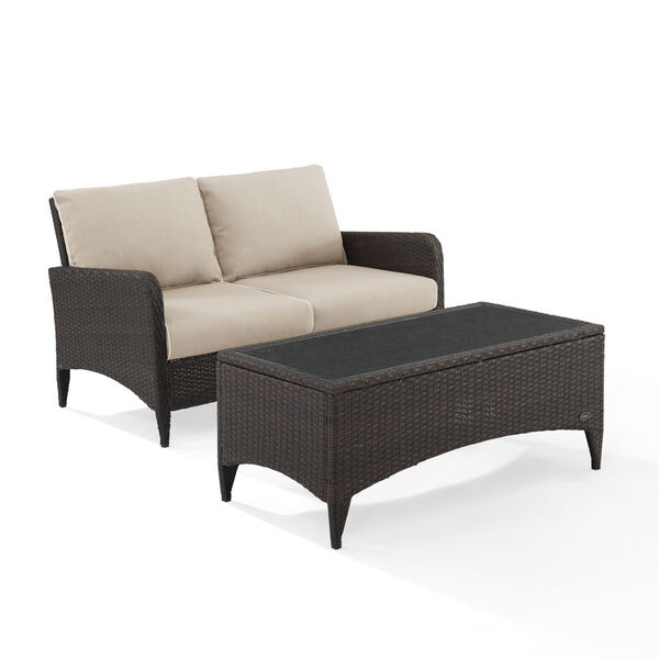 Kiawah Sand Brown Two-Piece Outdoor Wicker Chat Set, image 3