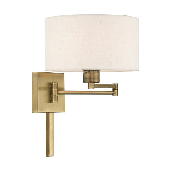 Swing Arm Wall Lamps Antique Brass 11-Inch One-Light Swing Arm Wall Lamp with Hand Crafted Oatmeal Hardback Shade, image 4