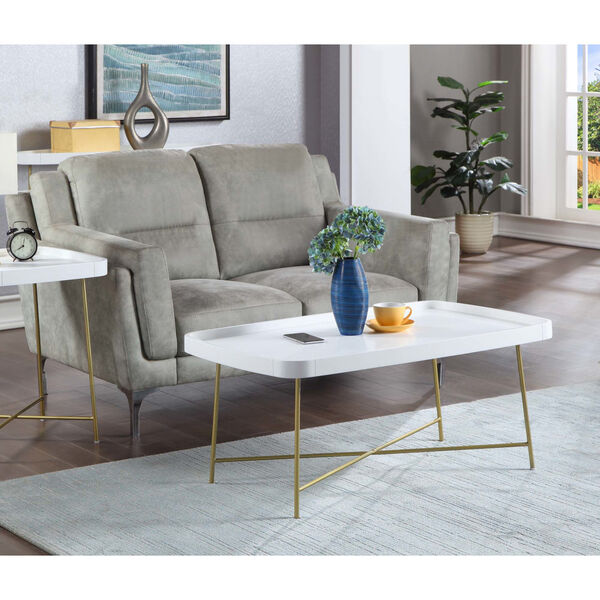 Lunar White and Gold Coffee Table, image 3