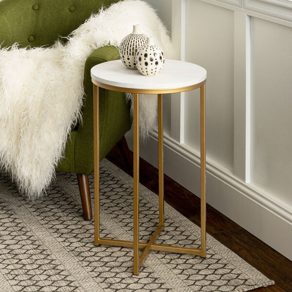 16-Inch Round Side Table - Marble/Gold, image 1