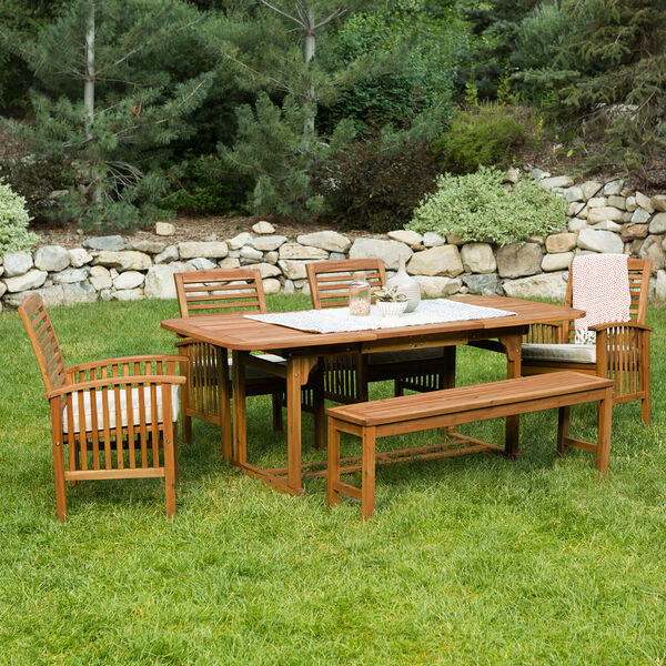6-Piece Brown Acacia Patio Dining Set with Cushions, image 4