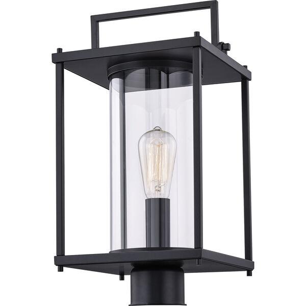 Garrett Matte Black One-Light Outdoor Post Lantern with Transparent Glass, image 3