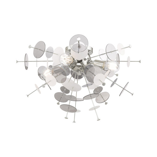 Circulo Polished Chrome 24-Inch Four-Light Ceiling Mount with Chrome Discs and Glass Discs, image 5