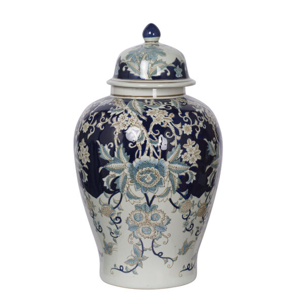 Bryn Blue, Gold And White Ginger Jar, image 1