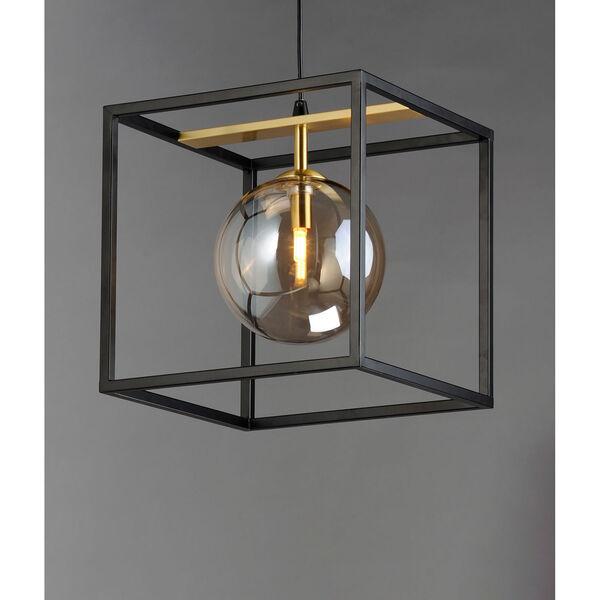 Fluid Black and Satin Brass LED Single Pendant, image 2