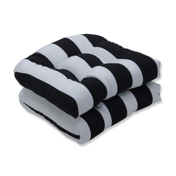 Cabana Black White Seat Cushion, Set of Two, image 1
