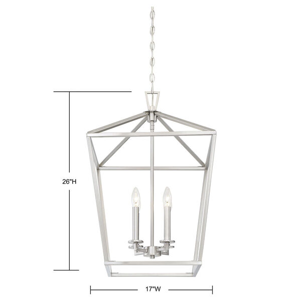 Anna Brushed Nickel 17-Inch Four-Light Pendant, image 6