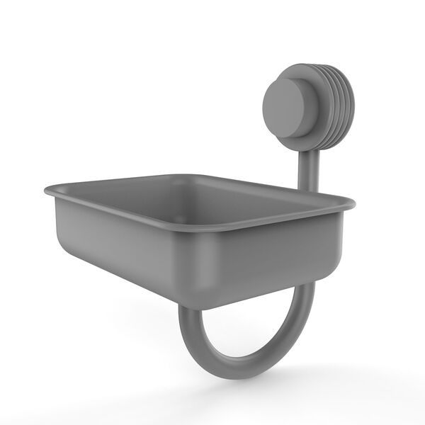 Venus Matte Gray Five-Inch Wall Mounted Soap Dish with Groovy Accents, image 1