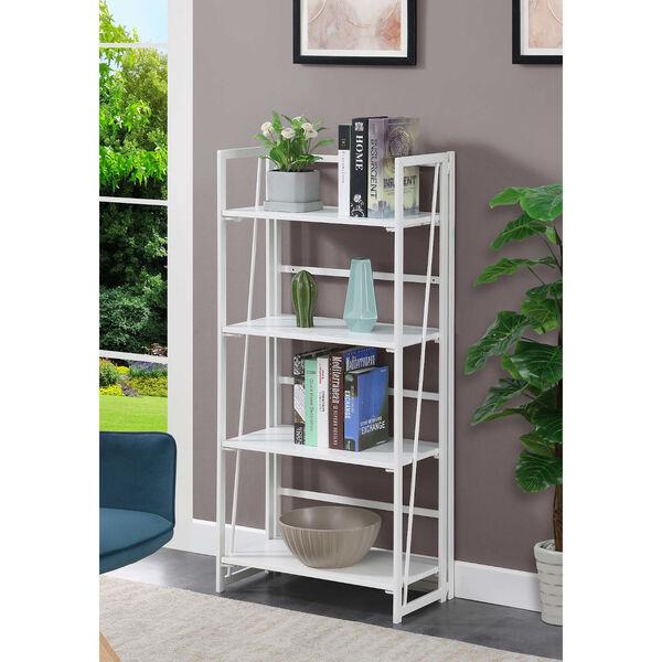 Xtra White Folding Four Tier Bookshelf, image 2