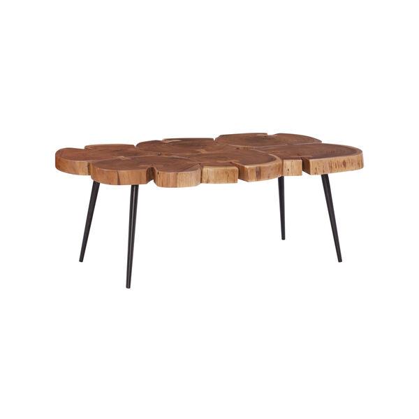 Aurelio Brown and Black Live Edge Large Coffee Table, image 1