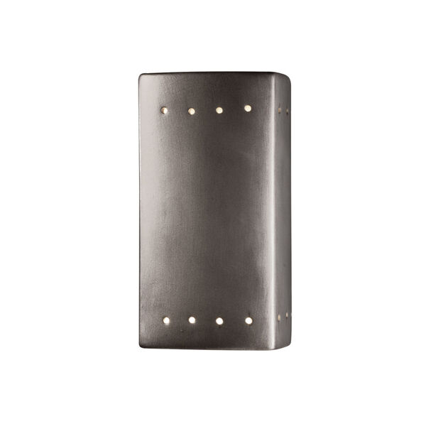 Ambiance Antique Silver Five-Inch Closed Top and Bottom LED Rectangle Outdoor Wall Sconce, image 1