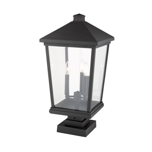 Beacon Black Three-Light Outdoor Pier Mounted Fixture With Transparent Beveled Glass, image 3