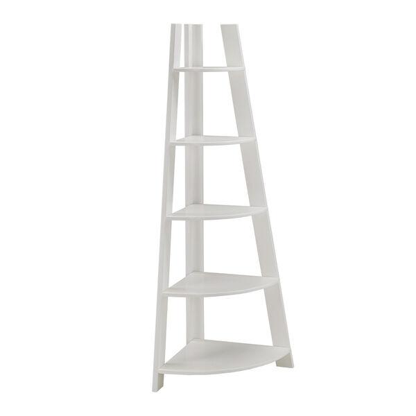 Roark White Corner Ladder Bookcase, image 1