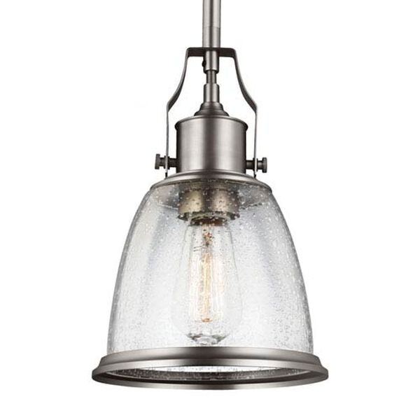 Sheffield Satin Nickel One-Light 8-Inch Wide Mini Pendant with Clear Seeded Glass, image 1