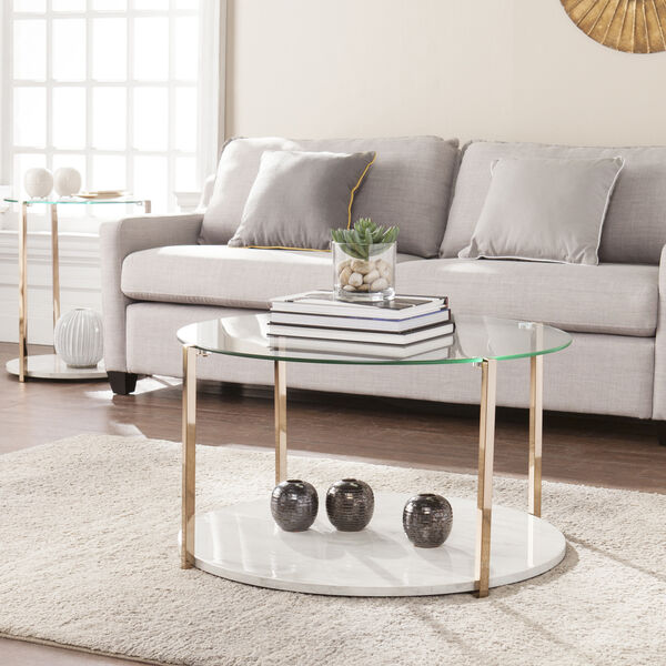 Avenida Gold with Gray Veined White Faux Marble Coffee Table, image 1
