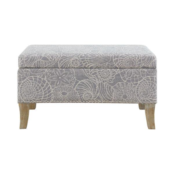 Bentley Rustic Gray Upholstered Storage Bench, image 1