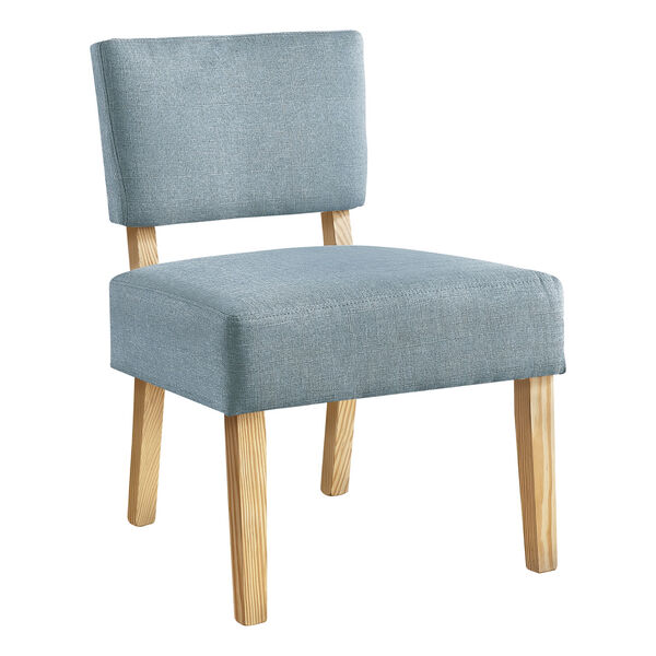 Light Blue and Natural Armless Chair, image 1