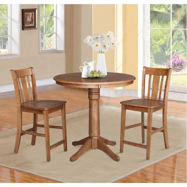 San Remo Distressed Oak 36-Inch Round Pedestal Gathering Table with Two Counter Height Stool, Set of Three, image 1