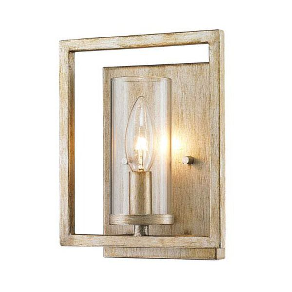 Marco White Gold One-Light Wall Sconce with Clear Glass Shade, image 3