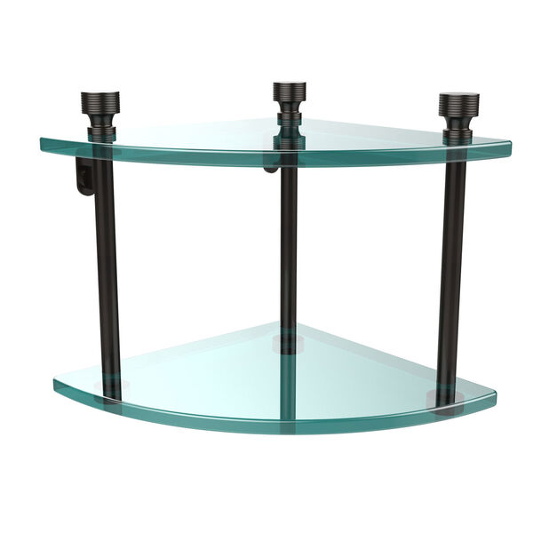 Foxtrot Collection Two Tier Corner Glass Shelf, Oil Rubbed Bronze, image 1