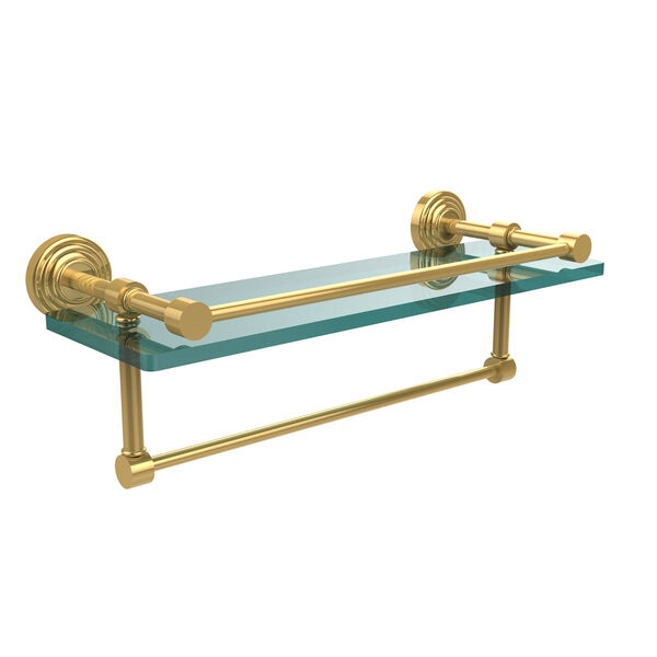 16 Inch Gallery Glass Shelf with Towel Bar, Unlacquered Brass, image 1
