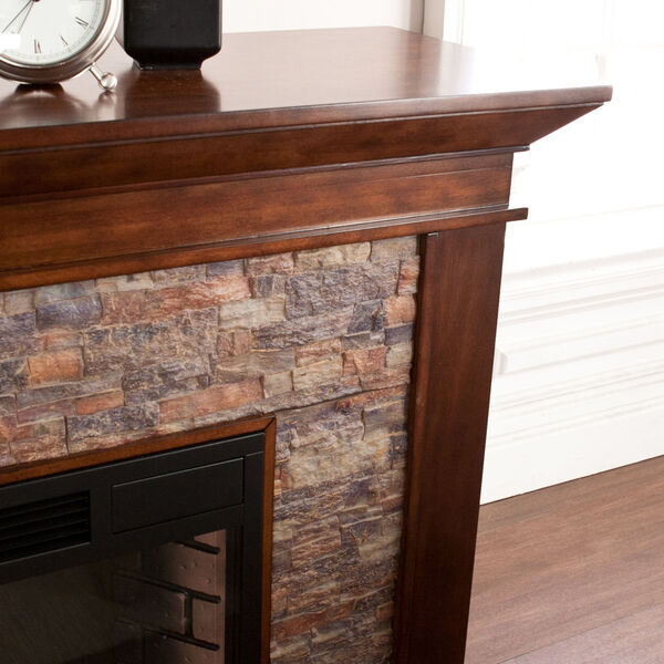 Canyon Whickey Maple Simulated Stone Electric Fireplace, image 2