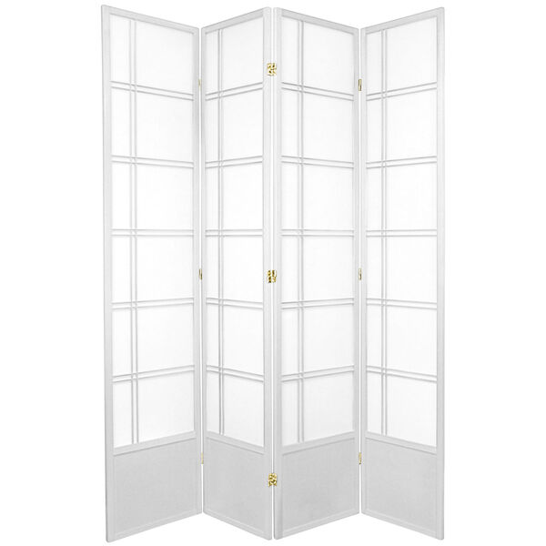 7-Foot Tall Double Cross Shoji Screen - White - 4 Panels, image 1