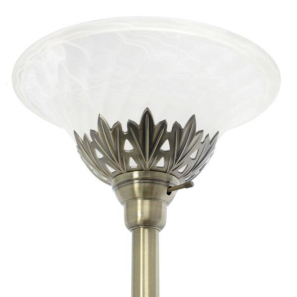 Quince Antique Brass White Shade Three-Light Floor Lamp, image 6