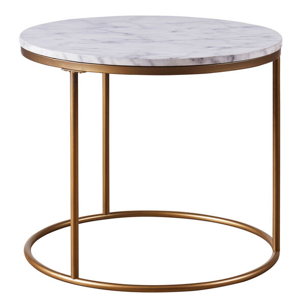Marmo Faux Marble and Brass Round Side Table with Faux Marble, image 1