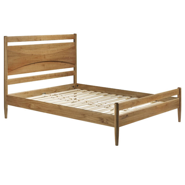 Atticus Caramel Beveled Headboard Solid Wood Queen Bed, image 3