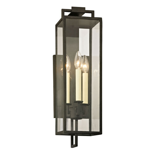 Beatty Forged Iron Three-Light Outdoor Wall Sconce, image 1