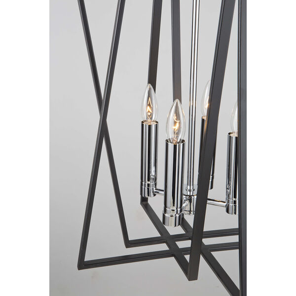 Middleton Matte Black and Polished Chrome Four-Light Geometric Chandelier, image 4