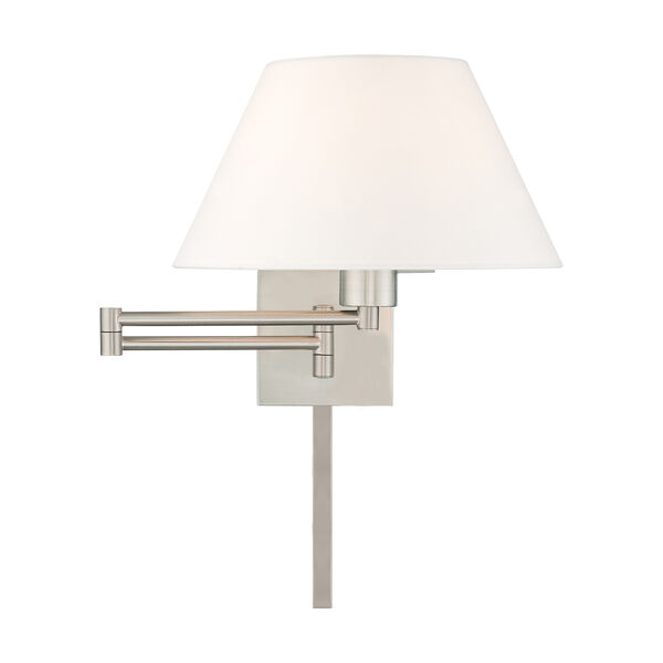 Swing Arm Wall Lamps Brushed Nickel 13-Inch One-Light Swing Arm Wall Lamp with Hand Crafted Off-White Hardback Shade, image 3