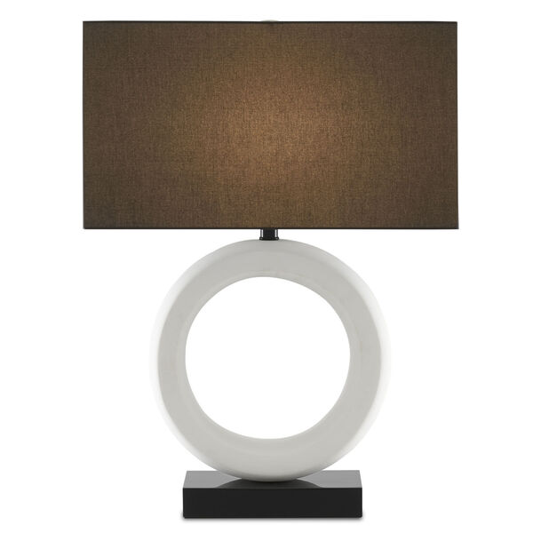 Kirkos Gesso White and Glossy Black One-Light Table Lamp, image 1