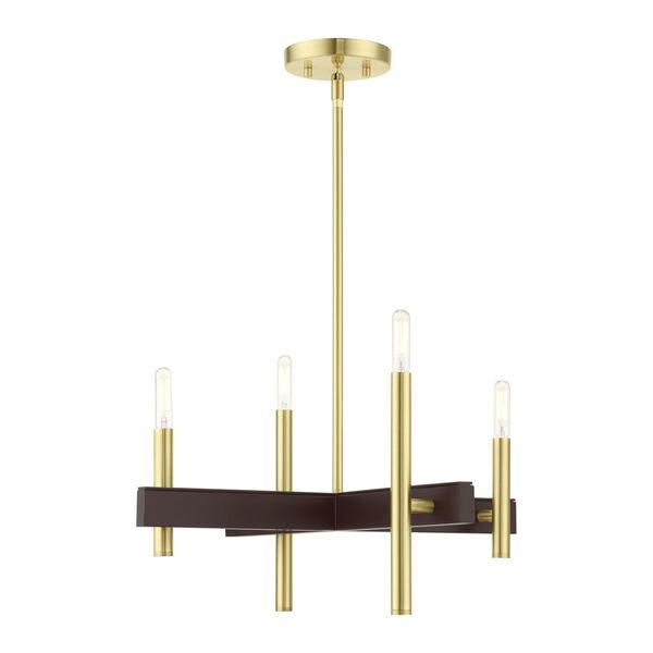 Denmark Satin Brass Four-Light Chandelier, image 1