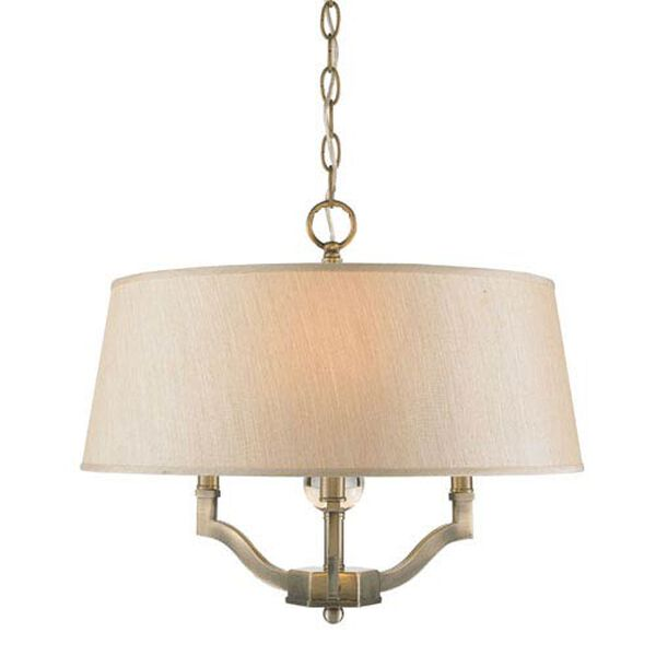 Waverly Antique Brass Convertible Semi-Flush with Silken Parchment Shade, image 2