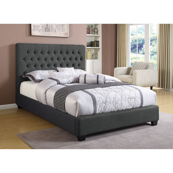 Black Upholstered Eastern King Bed with Tufted Headboard, image 1